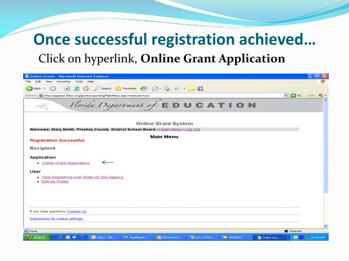Once successful registration achieved…