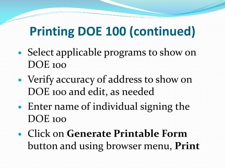 Printing DOE 100 (continued)
