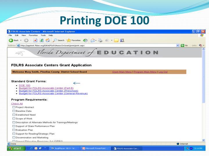 Printing DOE 100