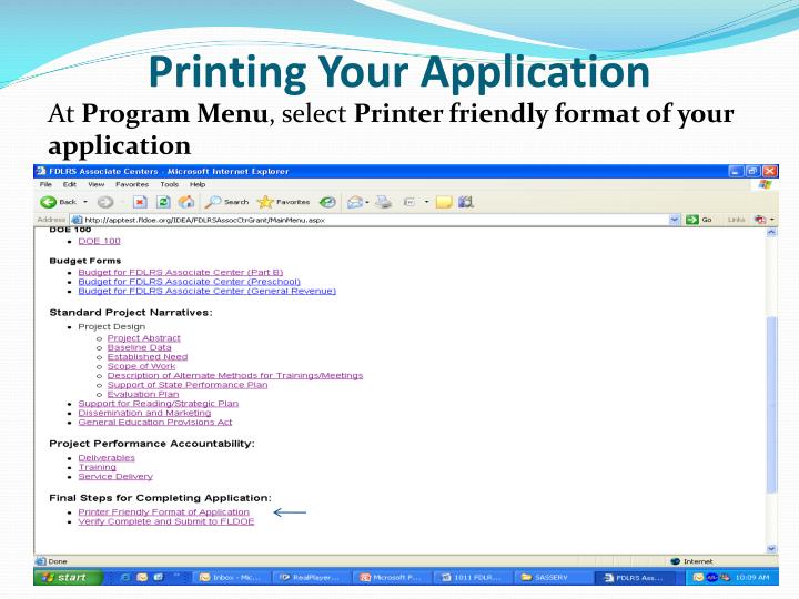 Printing Your Application