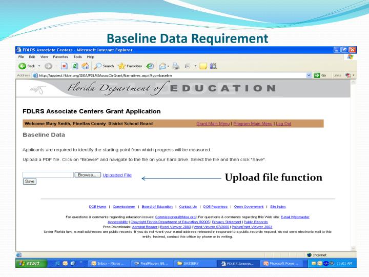 Baseline Data Requirement