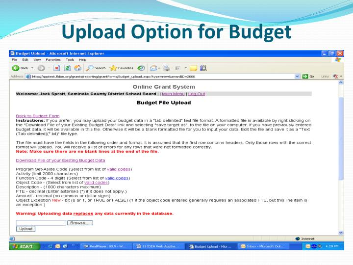 Upload Option for Budget