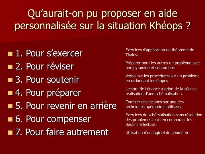 Qu'aurait-on pu proposer en aide personnalisée sur la situation Khéops ?