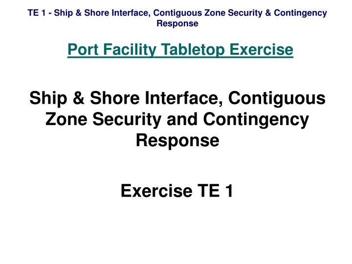 Port facility tabletop exercise
