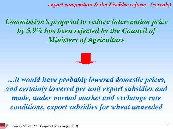export competition & the Fischler reform   (cereals)