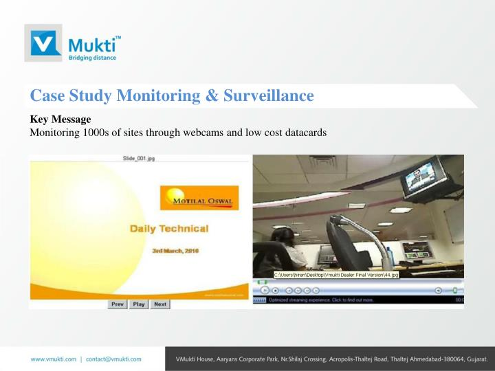 Case Study Monitoring & Surveillance