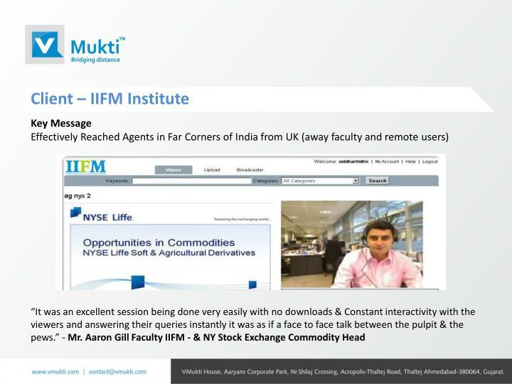 Client – IIFM Institute
