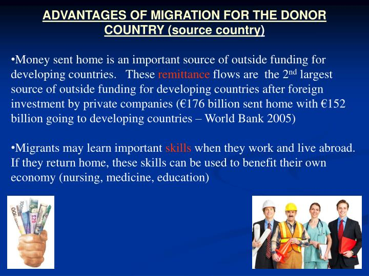 ADVANTAGES OF MIGRATION FOR THE DONOR COUNTRY (source country