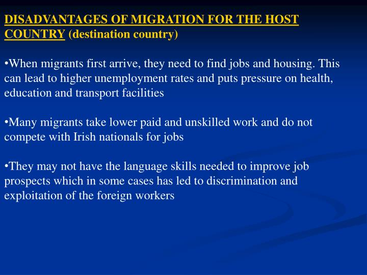 DISADVANTAGES OF MIGRATION FOR THE HOST COUNTRY