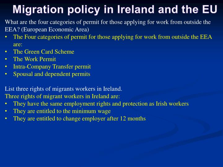 Migration policy in Ireland and the EU