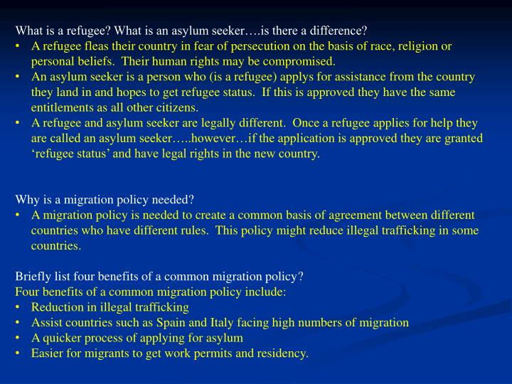 What is a refugee? What is an asylum seeker….is there a difference?