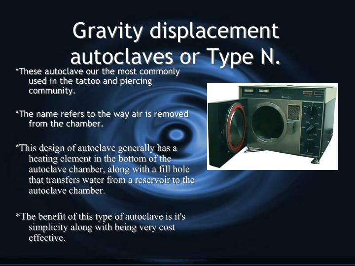 Gravity displacement autoclaves or Type N.