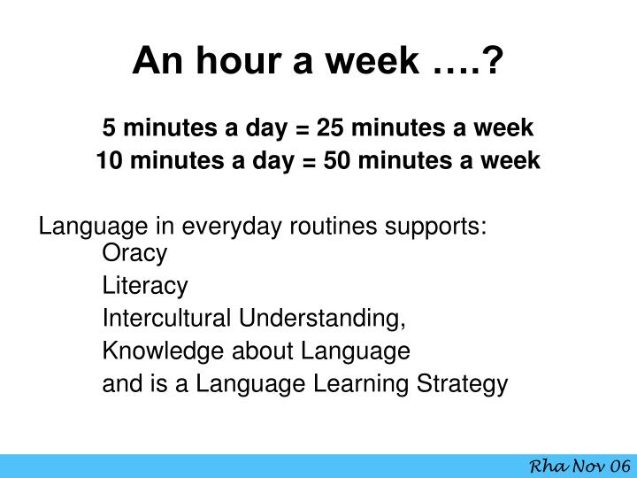 An hour a week ….?