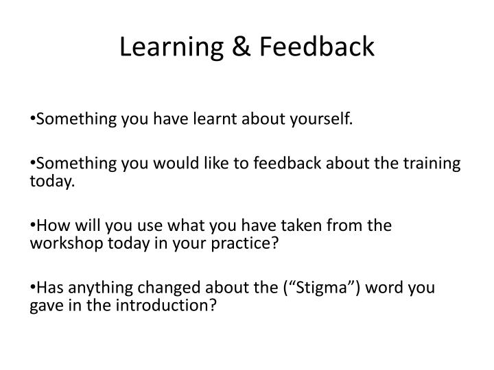Learning & Feedback