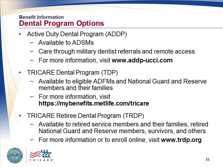 Benefit Information: Dental Program Options