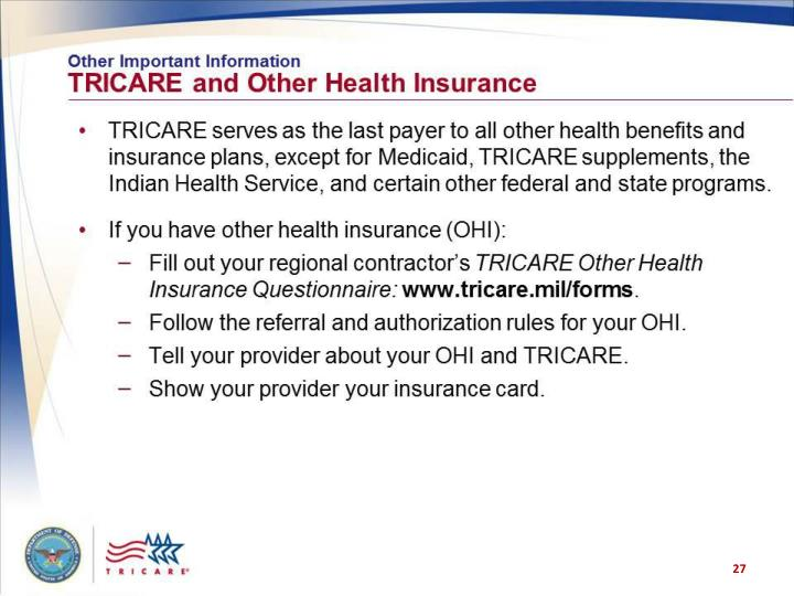 Other Important Information: TRICARE and