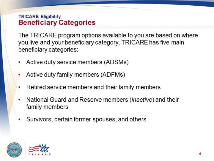 TRICARE Eligibility: Beneficiary Categories