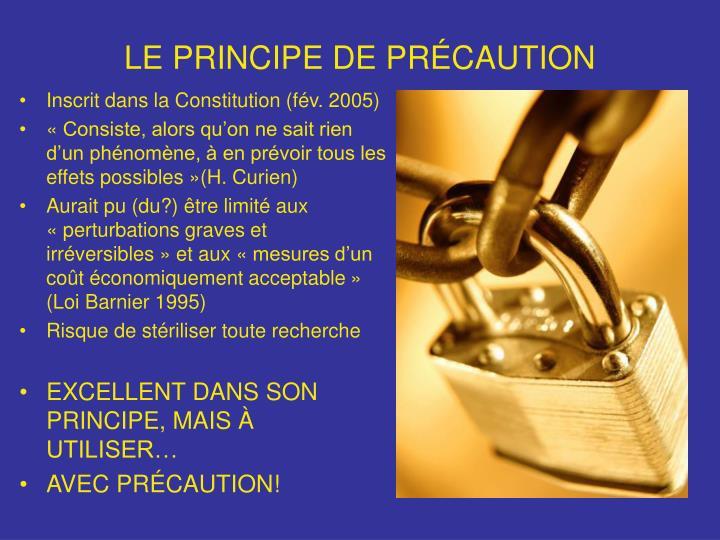 LE PRINCIPE DE PRÉCAUTION
