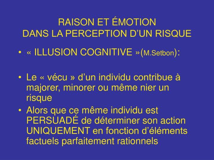 RAISON ET ÉMOTION