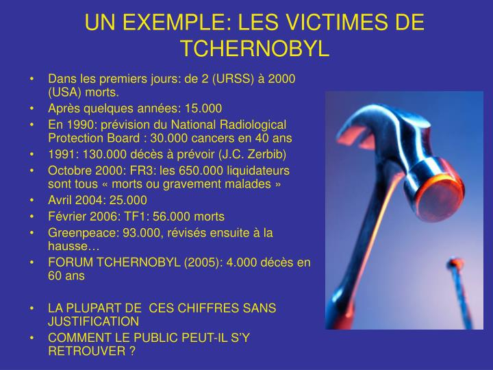 UN EXEMPLE: LES VICTIMES DE TCHERNOBYL