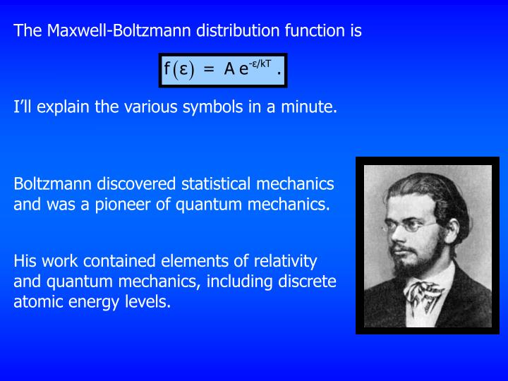 The Maxwell-Boltzmann distribution function is