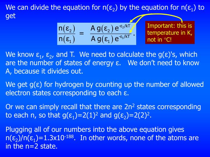 We can divide the equation for n(ε