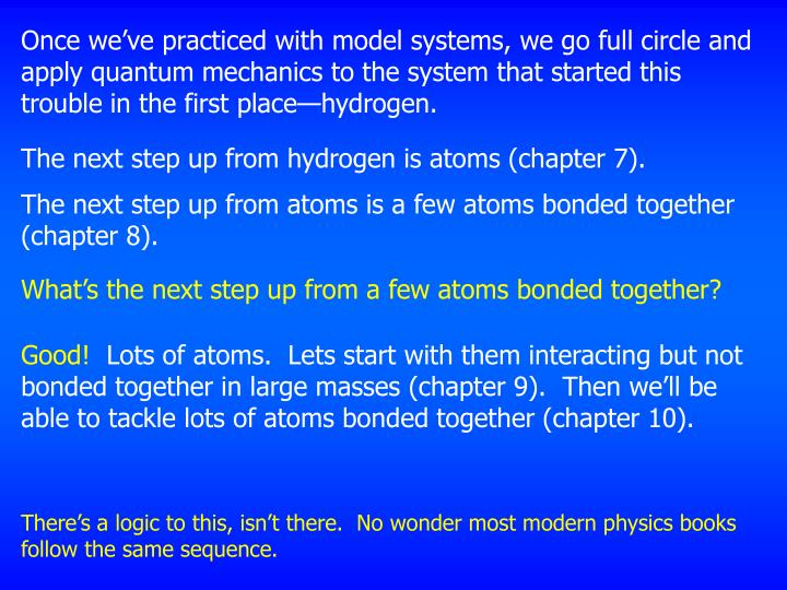 Once we've practiced with model systems, we go full circle and apply quantum mechanics to the system that started this trouble in the first place—hydrogen.