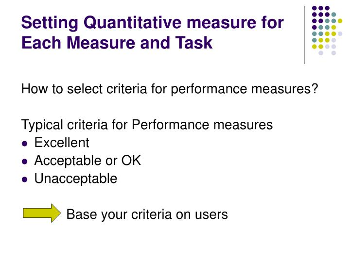 Setting Quantitative measure for Each Measure and Task