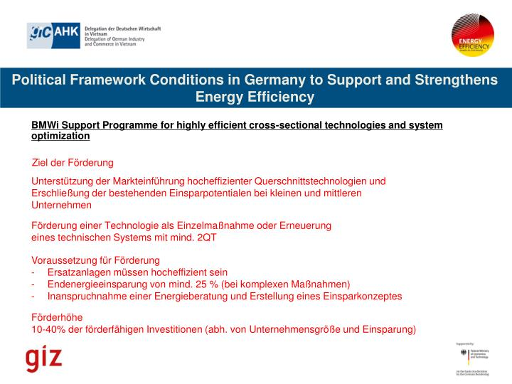 Political Framework Conditions in Germany to Support and Strengthens Energy Efficiency
