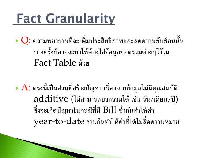 Fact Granularity