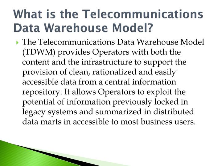 What is the Telecommunications Data Warehouse Model?