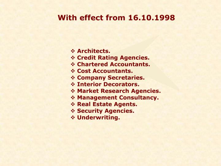 With effect from 16.10.1998