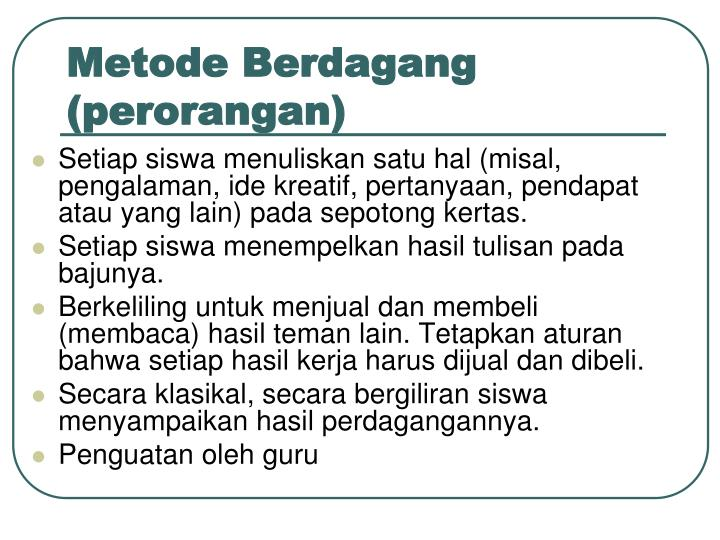 Metode Berdagang (perorangan)