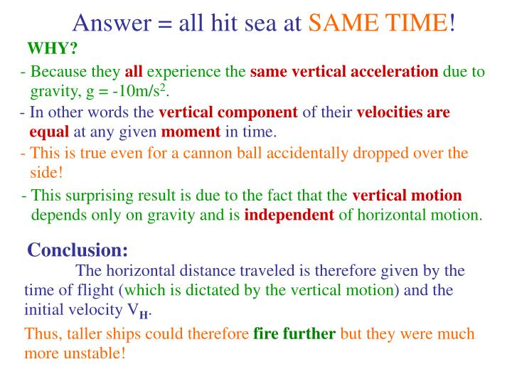 Answer = all hit sea at