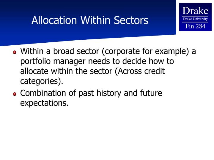 Allocation Within Sectors