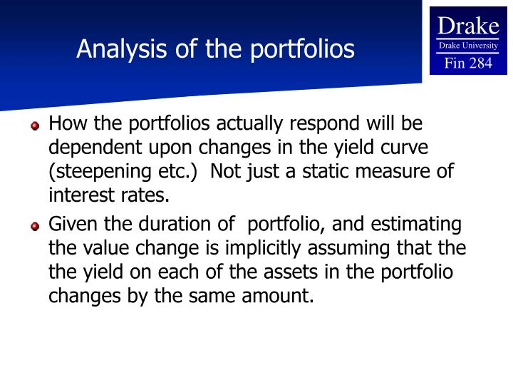 Analysis of the portfolios