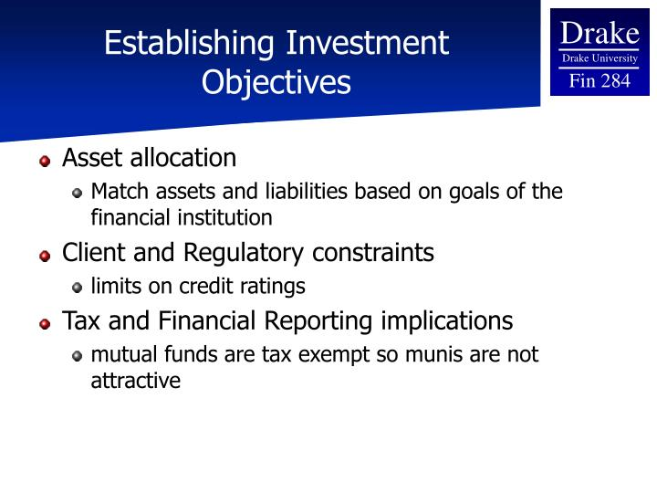 Establishing Investment Objectives