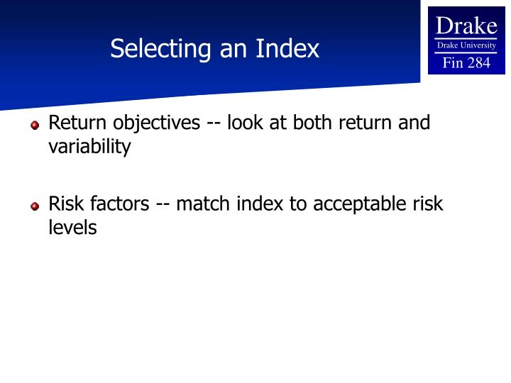 Selecting an Index