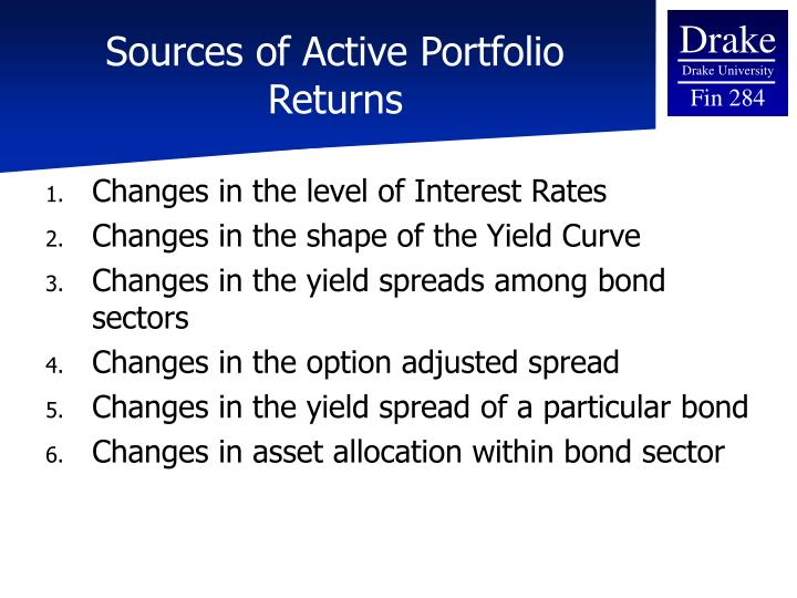 Sources of Active Portfolio Returns