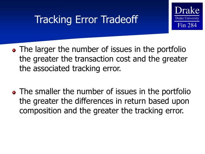 Tracking Error Tradeoff