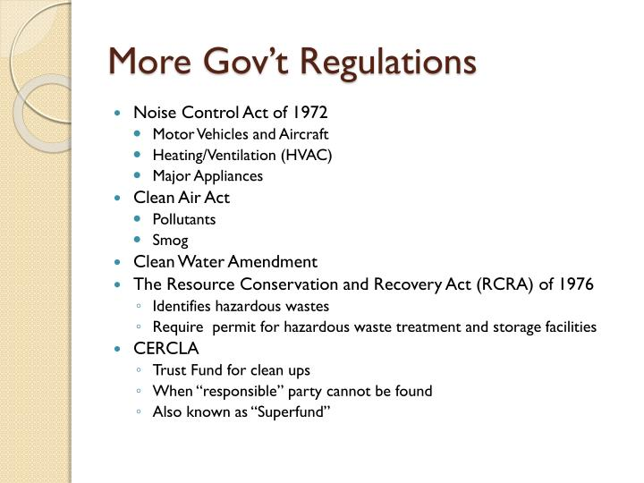 More Gov't Regulations
