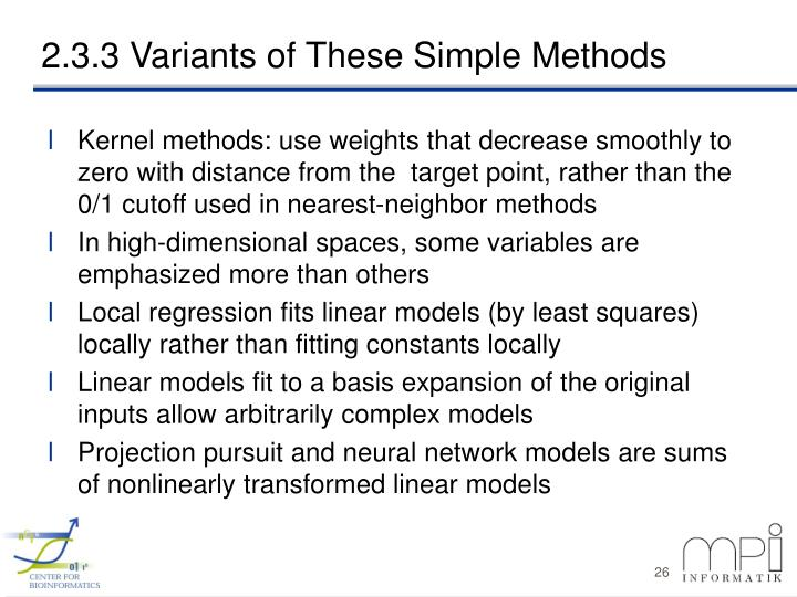 2.3.3 Variants of These Simple Methods