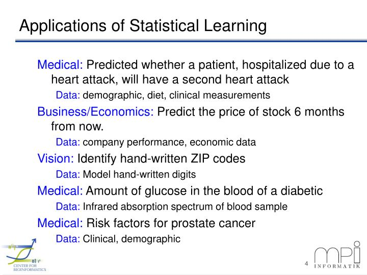 Applications of Statistical Learning