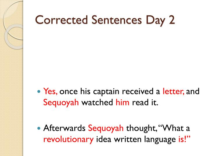 Corrected Sentences Day 2