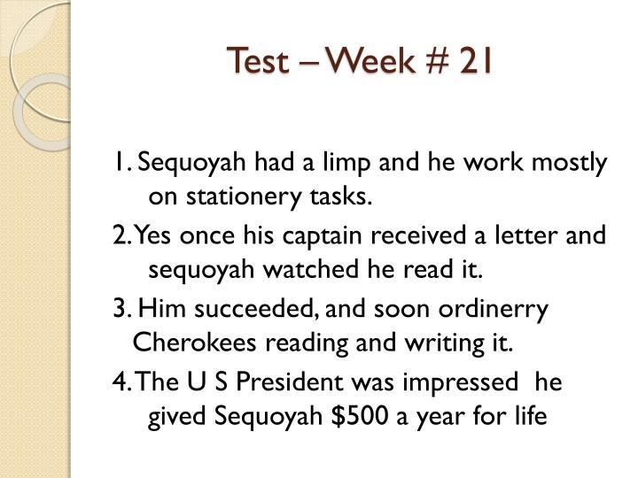 Test – Week #