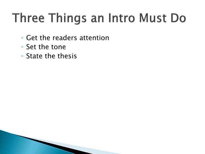 Three things an intro must do