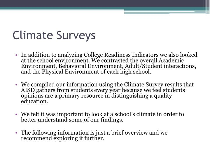 Climate Surveys
