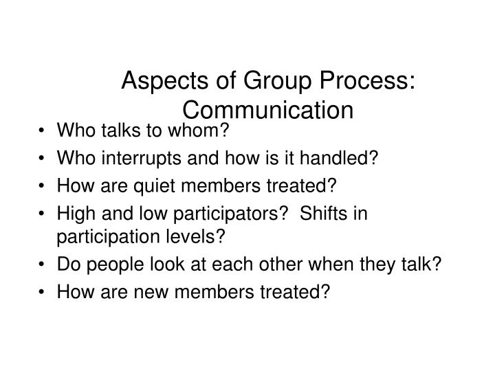 Aspects of Group Process: Communication