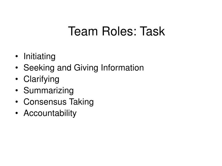 Team Roles: Task