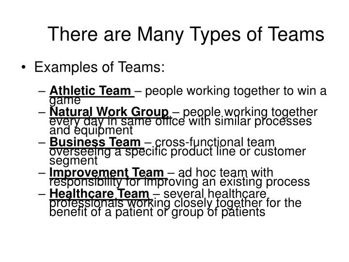 There are Many Types of Teams